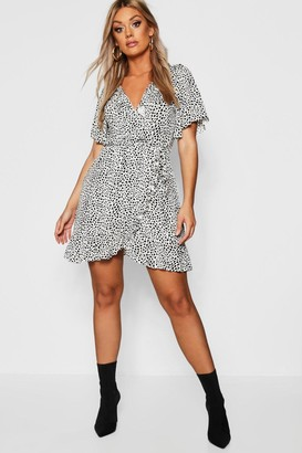 boohoo Plus Dalmatian Print Ruffle Tea Dress