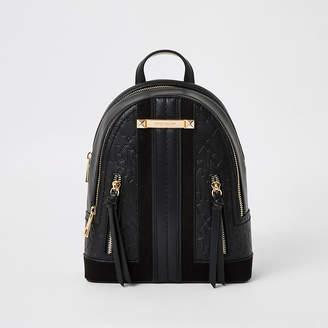 River Island Black RI embossed zip front backpack