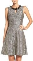 London Times Embellished Jacquard Fit & Flare Dress