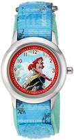 Disney Girl's 'Ariel' Quartz Stainless Steel and Nylon Casual Watch, Color:Blue (Model: WDS000050)