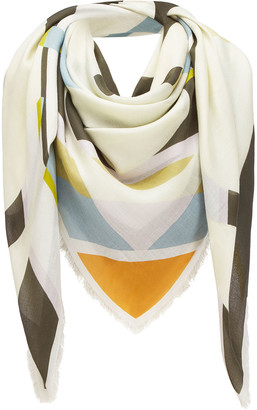 Loewe Striped Anagram-Print Fringe Scarf