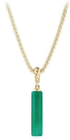 David Yurman 18k Barrel Charm Amulet Pendant, Green Onyx