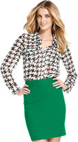 INC International Concepts Petite Top, Long-Sleeve Houndstooth-Check Shirt