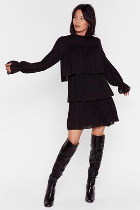 Nasty Gal Womens Tier Me Roar Ruffle Mini Dress - Black