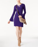 MICHAEL Michael Kors Lace-Up Bell-Sleeve Dress