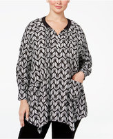 Melissa McCarthy Plus Size Printed Pintucked Blouse