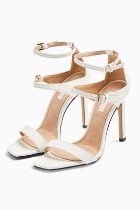 Topshop RELISH White Double Strap Heels