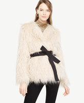 Ann Taylor Faux Fur Belted Jacket