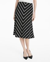 White House Black Market Chevron Striped A-line Ponte Midi Skirt