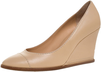 Chanel Beige Leather Cap Toe Wedge Pumps Size 40.5