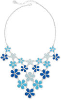 Liz Claiborne Blue Flower Silver-Tone Collar Bib Necklace