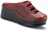 Rumour Has It Women's Clogs Red - Red Perforated Leather Wedge - Women