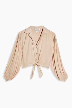 Topshop Womens Petite Champagne Satin Tie Front Shirt - Champagne