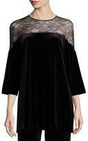 Joan Vass Velvet & Lace 3/4-Sleeve Tunic, Black