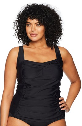Coastal Blue Women's Plus Size Swimwear Classic Center Front-Twist Tankini Top