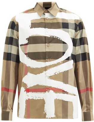 Burberry Tavistock Love-print Exploded Check Shirt - Beige