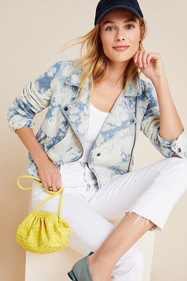Marrakech Quilted Tie-Dye Moto Jacket By in Blue Size XS