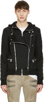 Balmain Black Hooded Biker Jacket