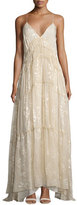 Haute Hippie Tunnels of Love Flocked Floral Gown, Antique White