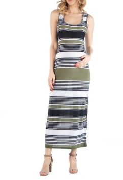 24seven Comfort Apparel Striped Maternity Maxi Dress with Racerback Detail
