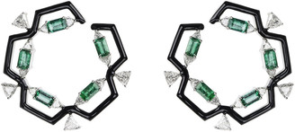 Nikos Koulis Oui 18k White Gold & Black Enamel Hoop Earrings with Emeralds & Diamond