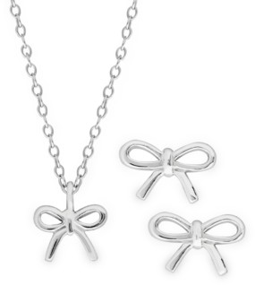 Rhona Sutton 4 Kids Children's Bow Pendant Necklace and Stud Earrings Two Piece Set in Sterling Silver