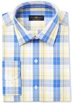 Club Room Men's Estate Classic/Regular Fit Wrinkle Resistant Yellow Blue Picnic Check Dress Shirt, Only at Macy's