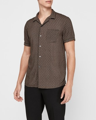 Express Slim Leaf Print Rayon Shirt
