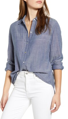 BeachLunchLounge James Chambray Cotton Double Cloth Shirt