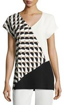 Lafayette 148 New York Charlize Short-Sleeve Divided Dots Combo Blouse, Multi