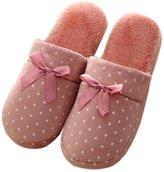Cityelf Women's Star Dot Bowknot Soft Sole Non-Slip Thermal Plush Slippers DBX0006