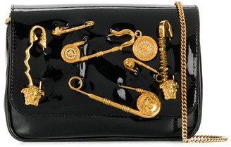 Versace safety pin patent leather crossbody bag