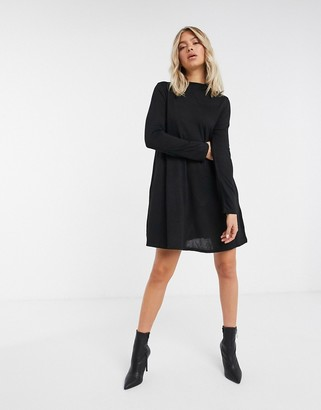 Brave Soul jersey swing dress in black