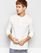 Jack Wills Henley T-Shirt With Long Sleeves in White Exclusive