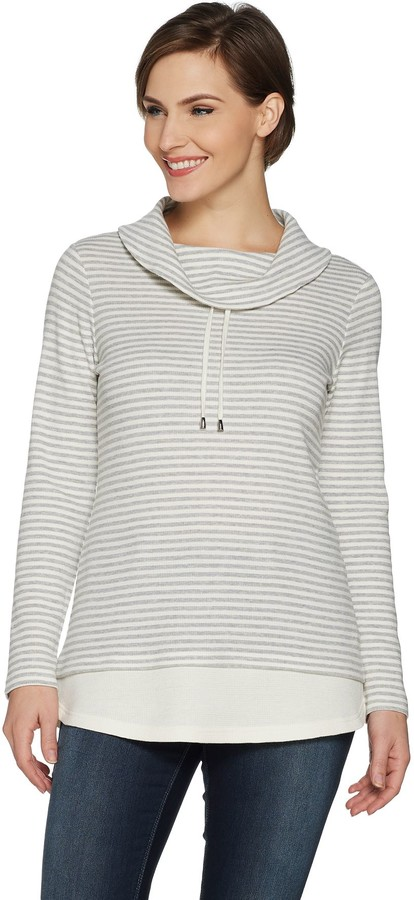 Active Heather Grey Striped Waffle Knit Pullover