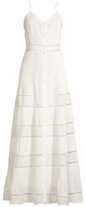 Alice + Olivia Meg Embroidered Pintuck Crochet-Trim Button-Front A-Line Dress