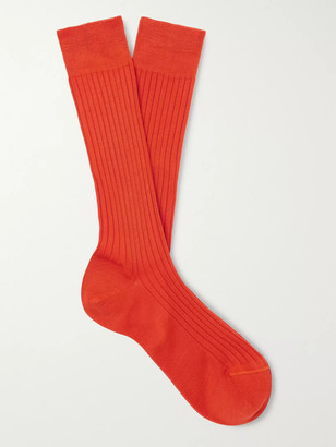 Charvet Ribbed Cotton Socks - Men - Orange