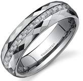 Peora Faceted Edge White Carbon Fiber 6mm Comfort Fit Mens Tungsten Wedding Band Ring Size 11