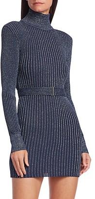 Herve Leger Glitter Rib-Knit Belted Mini Turtleneck Sweater Dress