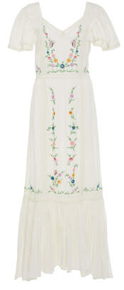 LoveShackFancy Damia Floral-Embroidered Cotton Maxi Dress