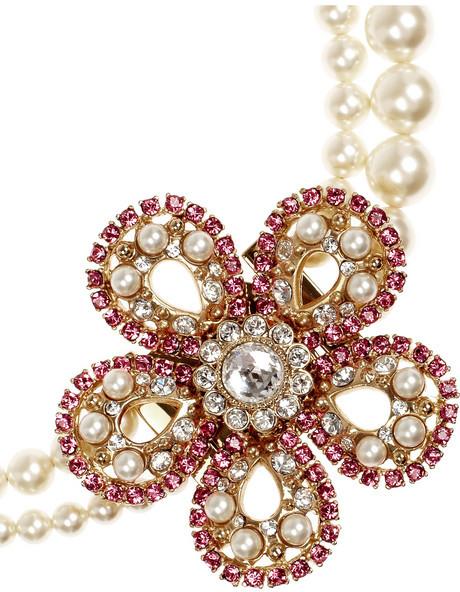 Miu Miu Swarovski crystal and faux pearl choker