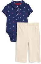 Little Me Infant Boy's Anchor Polo Bodysuit & Pants Set