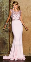 Nika Fully Embellished Fitted Essence Gown with Sweep Train