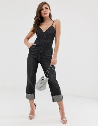 Miss Sixty strappy detail denim jumpsuit-Black