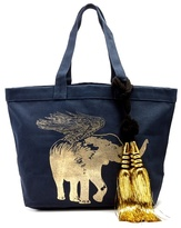 Figue Flying Elephant-print canvas tote