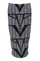 Select Fashion Fashion Womens Grey Mono Aztec Midi Skirt - size 6
