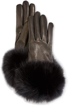 Portolano Mario Cashmere-Lined Leather Gloves w/ Fox Fur Cuffs