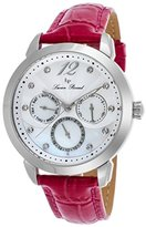 Lucien Piccard Women's 'Rivage' Quartz Stainless Steel and Leather Casual Watch, Color:Pink (Model: LP-40038-02MOP-PKS)
