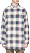 R 13 Check plaid oversized flannel shirt