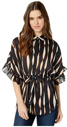 Bishop + Young Mara Print Ruffle Sleeve Blouse (Mara Print) Women's Clothing